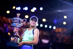 Sofia Kenin poses with the Daphne Ackhurst Memorial Cup after winning the women's singles final against Garbine Muguruza 4-6, 6-2, 6-2 to win her first Grand Slam title