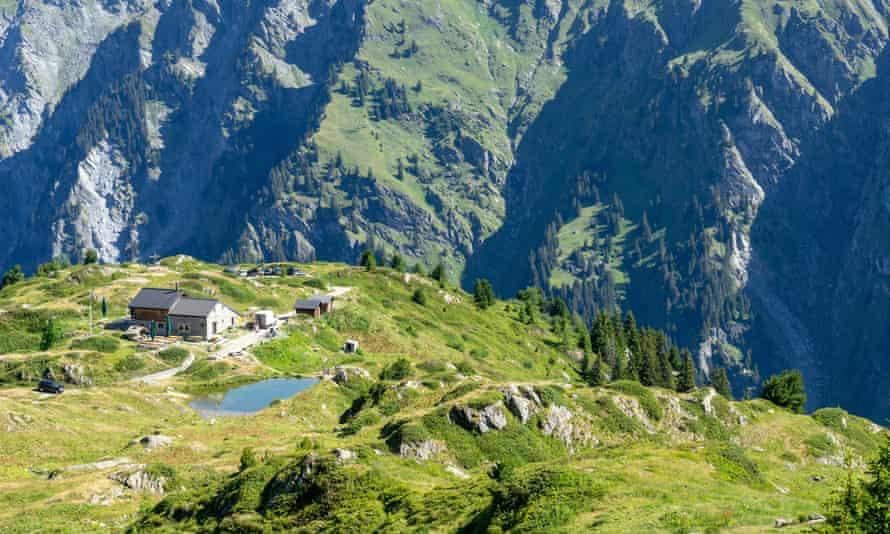 Die Cabane Brunet im Val de Bagnes, Kanton Wallis, Swiss Alps.
