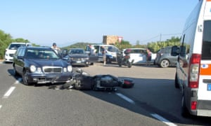 Photo made available by the local police of Olbia shows the site of a road accident involving US actor George Clooney, near Olbia, Sardinia Island, where he was reportedly not badly hurt.