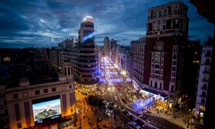 Traffic on a main street in Madrid