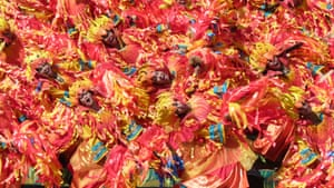 The swirling dancers of Tribu Pangat depict a fire at Dinagyang, a religious and cultural festival in Iloilo City, Philippines.