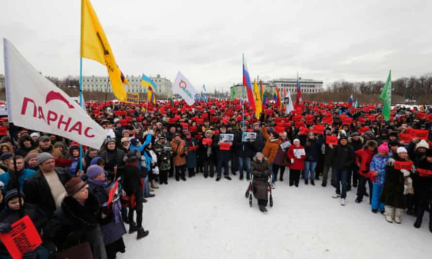 The march in St Petersburg.