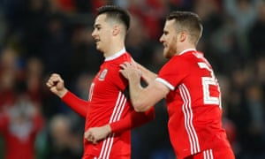 Tom Lawrence, left, celebrates scoring Wales' goal in the second half against Panama.