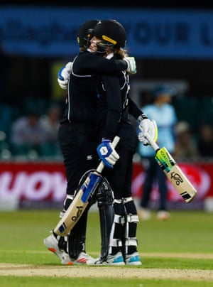 New Zealand's Lea Tahuhu and Maddy Green celebrate after wining.