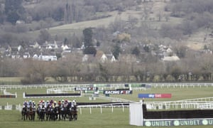 The runners in the early stages of the opening race at this year's Cheltenham Festival.