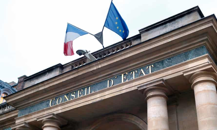 The French Council of State in Paris, with EU and French flags