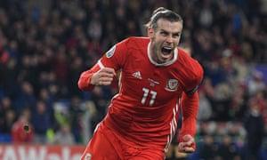Gareth Bale celebrates scoring the equaliser.