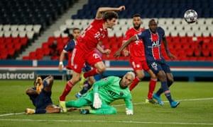 Bayern Munich's Thomas Muller shot is blocked by Paris St Germain's keeper Keylor Navas.