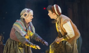 Gillian Hanna as Grandma and Patsy Ferran as Jim Hawkins in Bryony Lavery's version of Treasure Island, after Robert Louis Stevenson, at the Olivier, National Theatre, 2015.