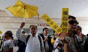 Supporters of Occupy Central pro-democracy movement gather outside a court in Hong Kong