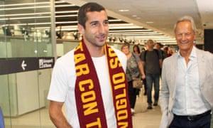 Henrikh Mkhitaryan arrives at Rome's Fiumicino airport.