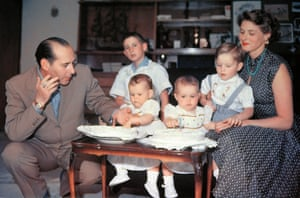 The Bergman-Rossellini family celebrating the twins' first birthday on 18 June 1953 with their half-brother Renzo, Roberto Rossellini's son from his first marriage.