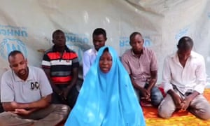 A screen grab taken from a video released by Iswap purportedly shows six workers from Action Against Hunger kidnapped in an attack in north-east Nigeria on 18 July