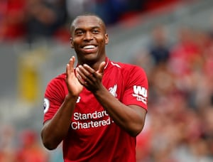Sturridge applauds their fans after Liverpool's 4-0 win.