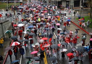 Thousands of striking teachers and supporters fill the streets of downtown LA.