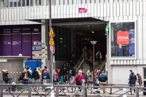 The SNCF train station Gare Montparnasse entrance, as people take the last trains out of Paris