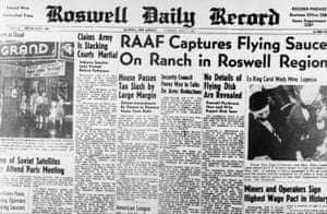 Newspaper headlines dated 8 July 1947, shortly after the Roswell crash.