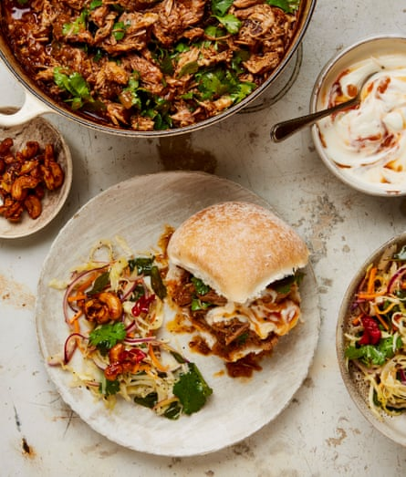 Serve the slaw with this spicy pulled pork vindaloo.