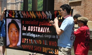 A demonstration in support of Chan Han Choi held outside the NSW supreme court on 29 November.