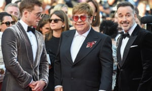 Elton John (centre) with Taron Egerton and David Furnish at the Cannes premiere of Rocketman.
