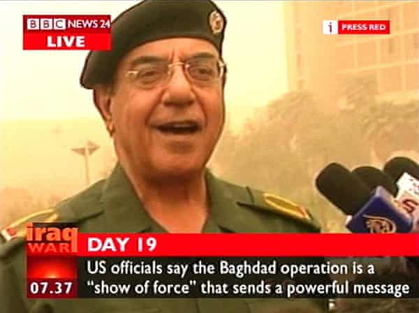 Iraqi information minister Mohammed Saeed al-Sahaf during the early days of the Iraq war in April 2003.