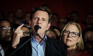 Rio de Janeiro's newly elected mayor, Marcelo Crivella, delivers his victory speech.