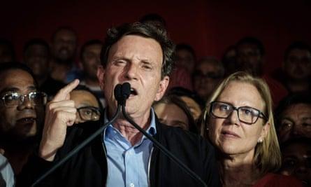 Rio de Janeiro's newly elected mayor, Marcelo Crivella, delivers his victory speech.