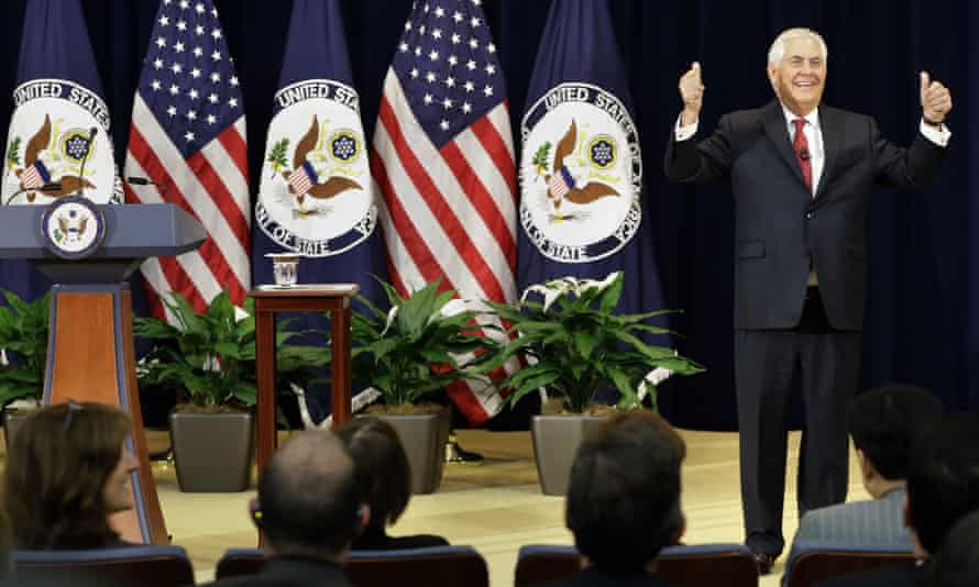 Rex Tillerson speaks to state department employees on Wednesday 3 May.