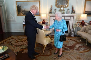 Queen Elizabeth II welcomes newly elected leader of the Conservative party Boris Johnson during an audience at Buckingham Palace on Wednesday July 24 2019, where she invited him to become Prime Minister and form a new government