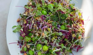 Quinoa with peas and sprouted seeds.