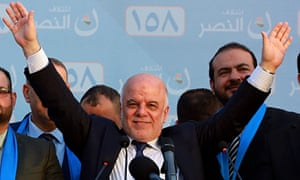 The Iraqi prime minister, Haider al-Abadi, speaks at a campaign rally in Baghdad.