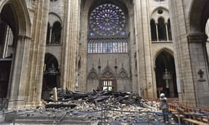 Inside Notre Dame cathedral after the fire.