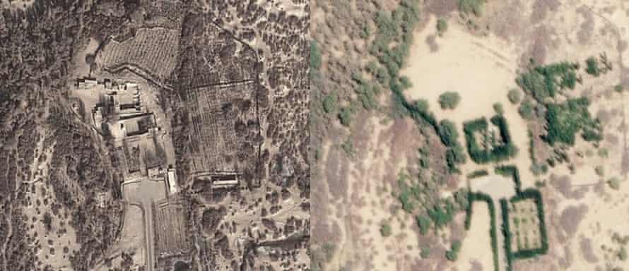 Before and after imagery of the Jafari Sadiq shrine. L-R Dec 10 2013, April 20, 2019.