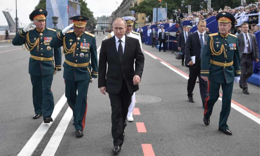 Vladimir Putin in St Petersburg, Russia on Sunday.