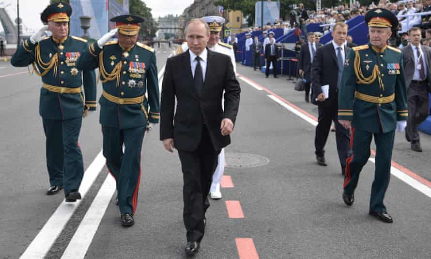 Vladimir Putin at a Russian Navy Day parade In St Petersburg in July.