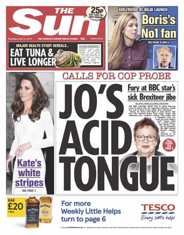 Jo Brand's joke on the front page of the Sun