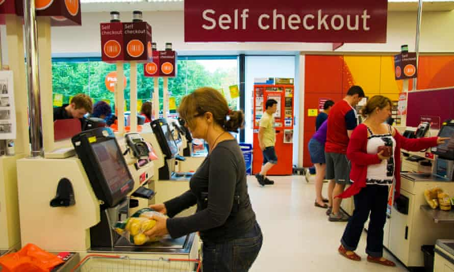 Self-checkout machines in a supermarket
