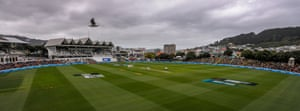 A panoramic view during the third day of the second test between New Zealand and the West Indies at Basin Reserve in Wellington.