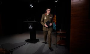 The CDF General Angus Campbell leaves a press conference at the Russell office headquarters of defence in Canberra this morning in response to the release of the Brereton report.