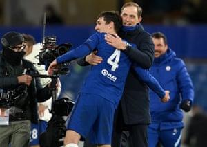 A delighted Thomas Tuchel hugs Andreas Christensen.