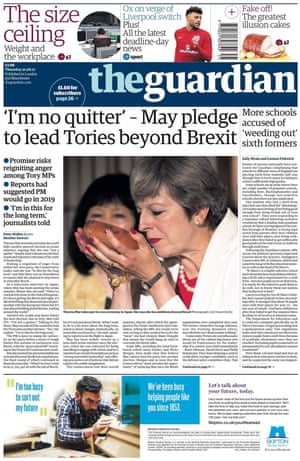 Guardian front page, Thursday 31 August 2017