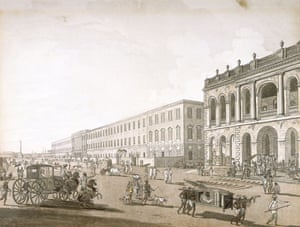 The Old Court House and Writer's Building in Calcutta, circa 1786-1788. Illustrated by Thomas Daniell.
