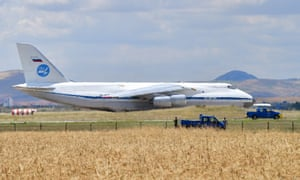 One of the Russian An-124 cargo plane transporting parts of the S-400 air defence system to M??rted Air Base.