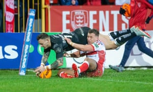 The Hull KR halfback Josh Drinkwater is unable to prevent Matty Dawson scoring a try for Hull FC at Craven Park.