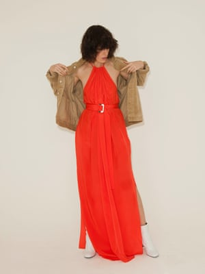 Red halter neck maxi dress Aquaq, brown jacket Urban Outfitters, white ankle boots Topshop