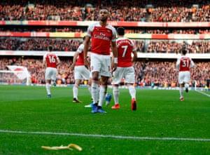 A banana skin thrown by a Tottenham supporter at Arsenal's Pierre-Emerick Aubameyang.