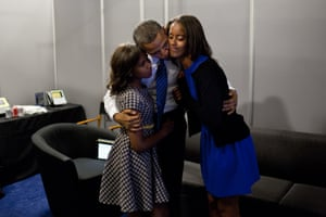 6 September: 'While the president was waiting anxiously backstage before his speech at the Democratic National Convention in Charlotte, North Carolina, daughters Malia and Sasha came in to wish him well'