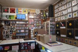 Inside Supertone record shop in Brixton, London.