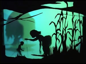 Silhouette scene, from the video ...calling to me from the angry surface of some grey and threatening sea, 2007.
