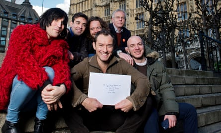 Jude Law and co-signers outside parliament